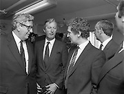 Taoiseach At Kelly's Bakery Kilcock..1986..08.09.1986..09.08.1986..8th September 1986..Today the Taoiseach,Garret Fitzgerald,officially opened a new computer centre at Kelly's Bakery. The bakery is a large employer based in Kilcock,Co Kildare. Mr Fitzgerald was accompanied by the Minister for Justice,Mr Alan Dukes and Mr Bernard Durkan TD...Photograph taken after the official opening. Taoiseach,Mr Garret Fitzgerald chats with Mr Canice Kelly,M.D.Kelly's and Mr Pat Smyth,General Manager.