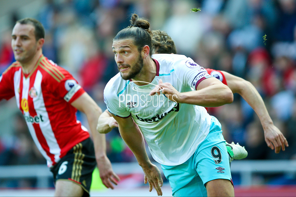 West Ham United Forward Andy Carroll (9) gets free during the Premier League match between Sunderland and West Ham United at the Stadium Of Light, Sunderland, England on 15 April 2017. Photo by Simon Davies.