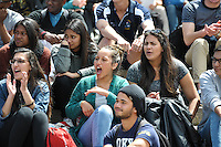 CAPE TOWN, SOUTH AFRICA - OCTOBER 15 2015, cheering crowds during the Springbok 7's Try Dive competition at the University of Cape Town's Jameson Plaza for the Cape Town 7s taking place at Cape Town Stadium on12&amp;13 December 2015.<br /> Photo by Roger Sedres/ImageSA