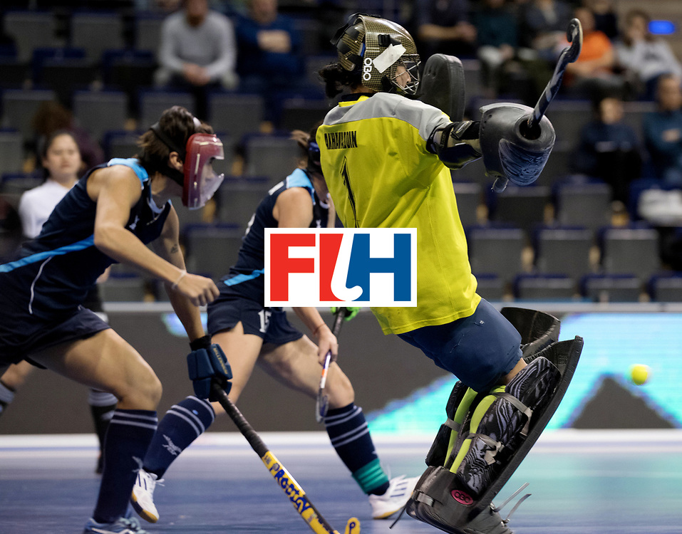 BERLIN - Indoor Hockey World Cup<br /> Women: Kazakhstan - Belarus<br /> foto: MIKANOVICH Veranika.<br /> WORLDSPORTPICS COPYRIGHT FRANK UIJLENBROEK