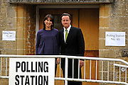 David and Samantha Cameron Vote in the UK general election at their local polling station in the Village of Spelsbury on the morning 6th May 2010. © under license to London News Pictures.