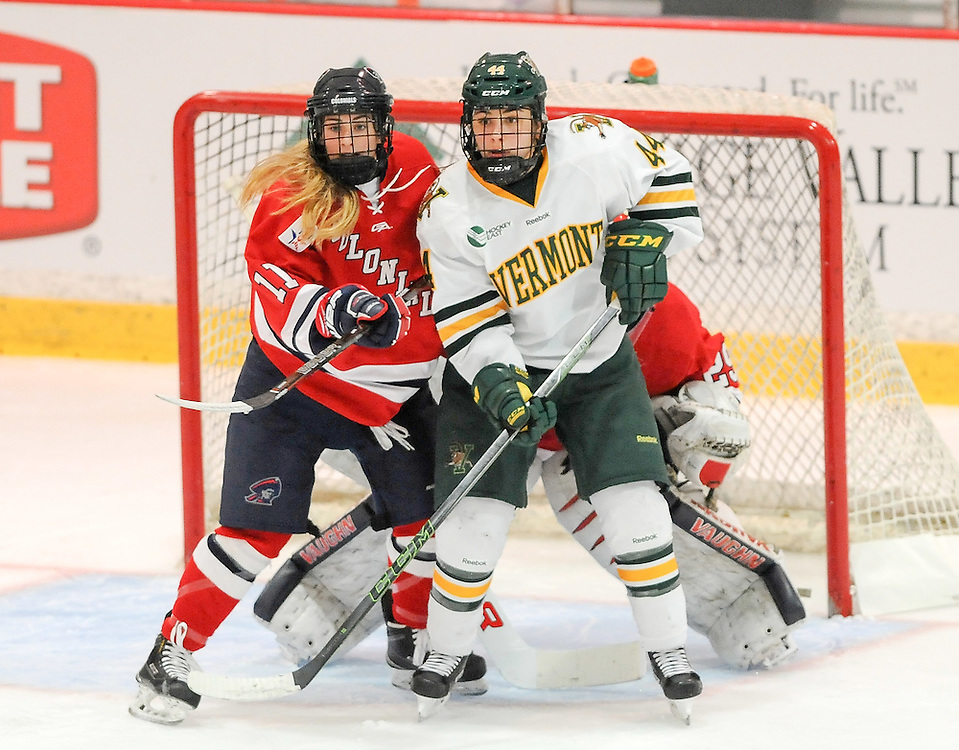 PITTSBURGH, PA - OCTOBER 14:  Natalie Fraser #11 of the Robert Morris Colonials battles in front of the goal with Victoria Andreakos #44 of the Vermont Catamounts in the third period during the game at 84 Lumber Arena on October 14, 2016 in Pittsburgh, Pennsylvania. (Photo by Justin Berl)