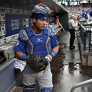 NEW YORK, NEW YORK - July 01: Catcher Willson Contreras #40 of the Chicago Cubs heads out of the dugout during the Chicago Cubs Vs New York Mets regular season MLB game at Citi Field on July 01, 2016 in New York City. (Photo by Tim Clayton/Corbis via Getty Images)