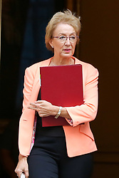 © Licensed to London News Pictures. 17/09/2019. London, UK. Secretary of State for Business Energy and Industrial Strategy ANDREA LEADSOM departs from No 10 Downing Street after attending the weekly Cabinet Meeting. Photo credit: Dinendra Haria/LNP