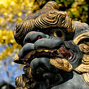 An ornately carved statue of a lion. The Narita-san temple, also known as Shinsho-Ji (New Victory Temple), is Shingon Buddhist temple complex, was first established 940 in the Japanese city of Narita, east of Tokyo.