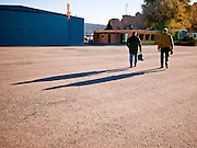 31 OCTOBER 2010 - WINDOW ROCK, AZ:    Democratic candidate for Secretary of State Chris Duschene (left) and Terry Goddard walk of the tarmac after a flight to Window Rock.  Goddard, and the other Democrats on the statewide ticket, campaigned in Window Rock and Kingman on Halloween. Goddard ended the day with a press conference in front of the Executive Office Tower at the State Capitol in Phoenix.  Goddard lost the election to sitting Governor Jan Brewer, a conservative Republican.     PHOTO BY JACK KURTZ