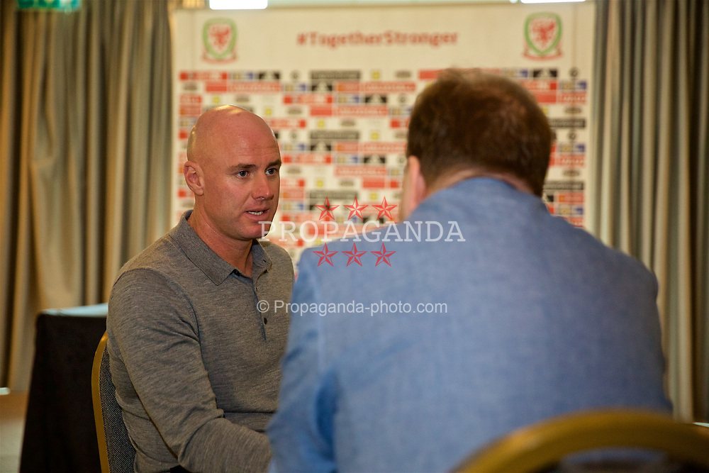 CARDIFF, WALES - Wednesday, November 1, 2017: Wales' Under-21 manager Robert Page during a press conference at the Vale Resort to announce his squad for the forthcoming forthcoming UEFA Under-21 European Championship qualifiers against Bosnia & Herzegovina and Romania. (Pic by Mark Hawkins/Propaganda)