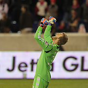 Joe Willis the D.C. United goalkeeper celebrates his sides win at the final whistle during the New York Red Bulls V D.C. United Major League Soccer, Eastern Conference Semi Final 2nd Leg match at Red Bull Arena, Harrison. New Jersey. USA. 8th November 2012. Photo Tim Clayton