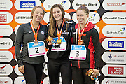 L-R, Cortney Jordan (USA), Nikita Howard (NZL) and Sarah Mehain (CAN) on the podium of the Women's 50m Butterfly S7. 2015 IPC Swimming World Championships - Tollcross Swimming Centre, Glasgow, Scotland. Photo credit: Luc Percival Photography.