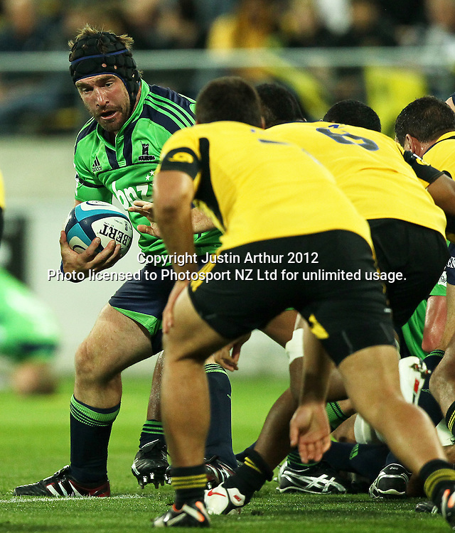 Highlanders' Andrew Hore looks attack during the 2012 Super Rugby season, Hurricanes v Highlanders at Westpac Stadium, Wellington, New Zealand on Saturday 17 March 2012. Photo: Justin Arthur / Photosport.co.nz
