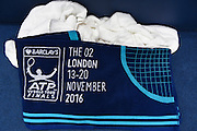 ATP Towel during the semi-final and day seven of the Barclays ATP World Tour Finals at the O2 Arena, London, United Kingdom on 19 November 2016. Photo by Martin Cole.