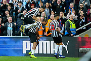 Jose Salomon Rondon (#9) of Newcastle United celebrates Newcastle United's second goal (2-0) with Miguel Almiron (#24) of Newcastle United during the Premier League match between Newcastle United and Huddersfield Town at St. James's Park, Newcastle, England on 23 February 2019.
