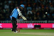 Moeen Ali of Worcestershire Rapids plays a lofted drive which finds the boundary during the final of the Vitality T20 Finals Day 2018 match between Worcestershire Rapids and Sussex Sharks at Edgbaston, Birmingham, United Kingdom on 15 September 2018.