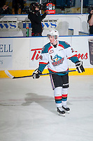KELOWNA, CANADA - FEBRUARY 9: Joe Gatenby #28 of Kelowna Rockets warms up against the Prince George Cougarson February 9, 2015 at Prospera Place in Kelowna, British Columbia, Canada.  (Photo by Marissa Baecker/Shoot the Breeze)  *** Local Caption *** Joe Gatenby;