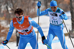 KANAFIN Kairat KAZ B2 Guide: ZHDANOVICH Anton competing in the ParaBiathlon, Para Biathlon at  the PyeongChang2018 Winter Paralympic Games, South Korea.