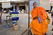 15 MARCH 2006 - PEAM CHIHYKAUNG, KAMPONG CHAM, CAMBODIA: A Buddhist monk in the village of Peam Chihykaung in central Cambodia. PHOTO BY JACK KURTZ