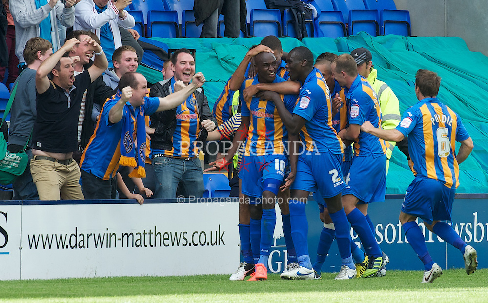 SHREWSBURY, ENGLAND - Saturday, August 25, 2012: Shrewsbury Town's Marvin Morgan celebrates scoring the first goal against Tranmere Rovers during the Football League One match at Greenhous Meadow. (Pic by Dave Richards/Propaganda)