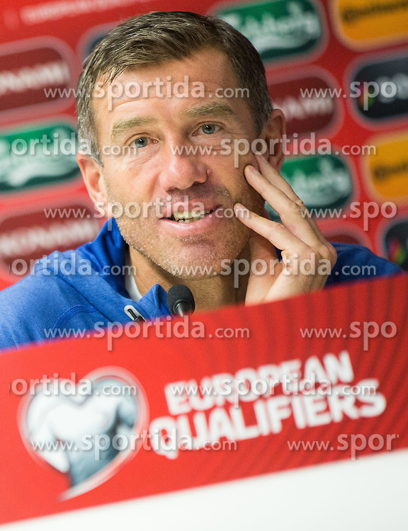 Srecko Katanec, head coach of Slovenia during the press conference 1 day before EURO 2016 Qualifier Group E match between Slovenia and San Marino, on October 11, 2015 in Stadio Olimpico Serravalle, Republic of San Marino. Photo by Vid Ponikvar / Sportida
