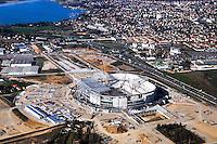 Vue aerienne stade des Lumieres - 07.04.2015 -Nouveau Stade de Lyon en construction a Decines<br /> Photo : Jean Michel Bancet / Icon Sport