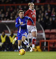 Gillingham's Cody McDonald keeps up the pressure on Bristol City in the Johnstone's Paint Trophy south area final second leg match at Ashton Gate on 29 January 2015 in Bristol, England - Photo mandatory by-line: Paul Knight/JMP - Mobile: 07966 386802 - 29/01/2015 - SPORT - Football - Bristol - Ashton Gate Stadium - Bristol City v Gillingham - Johnstone's Paint Trophy