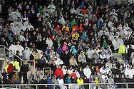 7.11.2011, Olympiastadion, Helsinki..UEFA European Championship 2012 Qualifying match, Finland v Sweden / EM-karsintaottelu Suomi - Ruotsi. .Pohjoiskaarteen yleisšŠ sadeviitoissa...