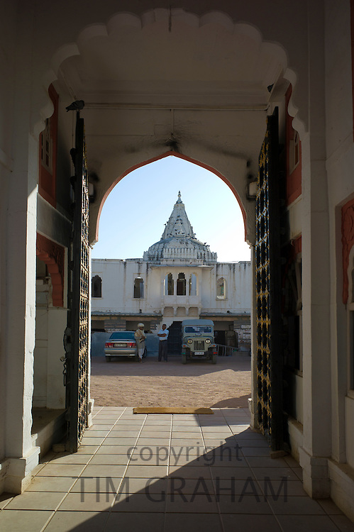 Rohet Garh fortress palace hotel with battlement walls with drawings of aristocratic ancestors Rohet, Rajasthan, Northern India