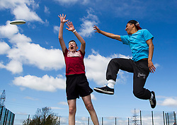 """14/05/2013 """"Reaching for the Sky at ITB"""" Craig Behan (16) and Lewis Harris (16) from Heartstown Community College are pictured at the Institute of Technology Blanchardstown taking part in the introduction to Ultimate Frisbee, run by Dublin Youth Ultimate and Fingal County Council. Picture Andres Poveda"""
