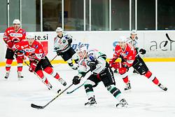 Rok Leber of Olimpija during Ice hockey match between HDD SIJ Acroni Jesenice and HDD Telemach Olimpija in Main Round of Slovenian National Championship 2014/15, on October 28, 2014 in Arena Podmezakla, Jesenice, Slovenia. Photo by Vid Ponikvar / Sportida