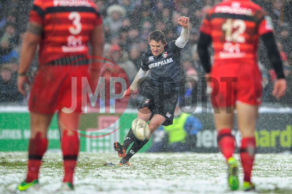 Leicester Fly-Half (#10) Toby Flood kicks a Penalty during the first half of the match - Photo mandatory by-line: Rogan Thomson/JMP - Tel: Mobile: 07966 386802 20/01/2013 - SPORT - RUGBY UNION - Welford Road - Leicester. Leicester Tigers v Toulouse - Heineken Cup Round 6. This is a crucial match for both sides with the winner topping Pool 2 to progress to the Quarter Final stage of the competition.