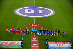 CARDIFF, WALES - Sunday, October 13, 2019: Wales and Croatia players line-up before the UEFA Euro 2020 Qualifying Group E match between Wales and Croatia at the Cardiff City Stadium. (Pic by Paul Greenwood/Propaganda)