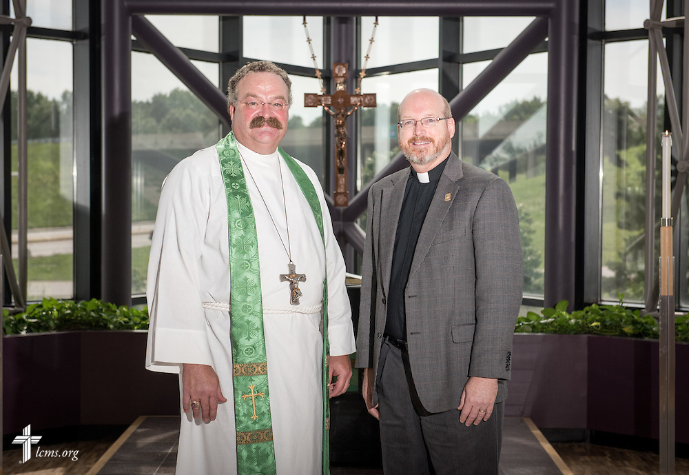 Portrait of the Rev. Dr. Matthew C. Harrison, president of The Lutheran Church–Missouri Synod, and the Rev. Mark Wood, director of Witness and Outreach Ministry in Office of National Mission, in the International Center chapel of The Lutheran Church–Missouri Synod on Wednesday, Sept. 3, 2014, in Kirkwood, Mo. LCMS Communications/Erik M. Lunsford