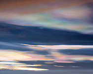 Nacreous clouds above Lake Myvatn, February 2018