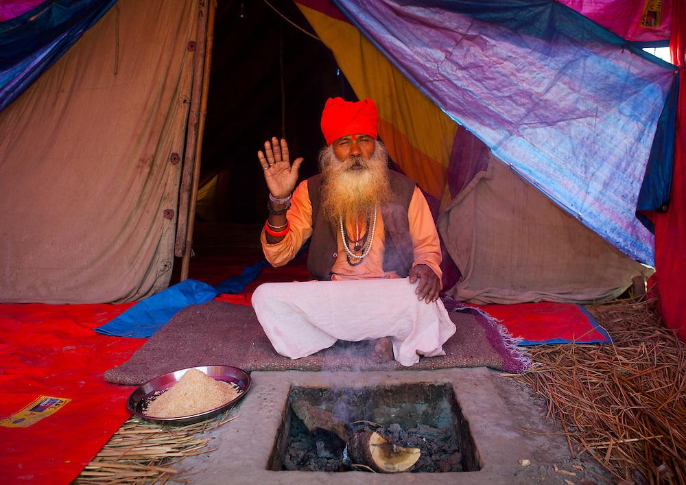 Sadhu in Juna Akhara, Maha Kumbh Mela festival, world's largest congregation of religious pilgrims. Allahabad, India.
