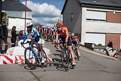 Eyeru Tesfoam Gebru (ETH) of UCI WCC Team and Riejanne Markus (NED) of CCC-Liv Team corner on Stage 2 of 2019 Festival Elsy Jacobs, a 111.1 km road race starting and finishing in Garnich, Luxembourg on May 12, 2019. Photo by Balint Hamvas/velofocus.com