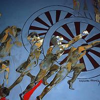 TOLUCA, México.- El lobby del museo de Arte Moderno asentado en las instalaciones del Centro Cultural Mexiquense, luce un buen número de pinturas en las que se pueden apreciar diferentes pasajes de la creación del universo, pinturas hechas por las manos del maestro mexiquense Leopoldo Flores Valdés. Agencia MVT / José Hernández. (DIGITAL)