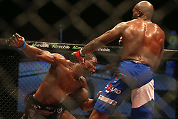 Dalcha Lungiambula (Blue) takes a swing at Tumelo Maphutha (Red) during the Interim Light Heavyweight Title bout of the Extreme Fighting Championships, EFC 52 held at the Grand West Casino in Cape Town, South Africa on the 5th August 2016<br /> <br /> Photo by:   Shaun Roy / Real Time Images