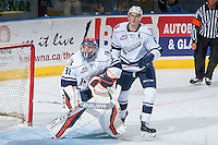KELOWNA, CANADA - SEPTEMBER 9: Dallas Valentine #6 and Dylan Ferguson #31 of Kamloops Blazers stand in the crease against the Kelowna Rockets on September 9, 2016 at Prospera Place in Kelowna, British Columbia, Canada.  (Photo by Marissa Baecker/Shoot the Breeze)  *** Local Caption *** Dylan Ferguson; Dallas Valentine;