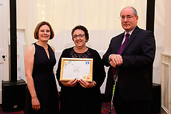 Lincolnshire Co-op long service awards 2018. Lincolnshire Co-op long service awards 2018. Lincolnshire Co-operative chief executive Ursula Lidbetter, left, and president Steve Hughes, right, present 25-year long service award to Tracy Modd (Post Office Counter Clerk at Whaplode Filling Station)<br /> <br /> Picture: Chris Vaughan Photography for Lincolnshire Co-op<br /> Date: September 20, 2018