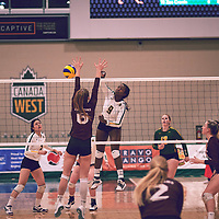 4th year outside hitter, Diana Lumbala (9) of the Regina Cougars during the Women's Volleyball home game on Fri Jan 25 at Centre for Kinesiology, Health & Sport. Credit: Arthur Ward/Arthur Images