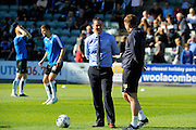 Plymouth Argyle manager Derek Adams before the Sky Bet League 2 play off first leg match between Plymouth Argyle and Portsmouth at Home Park, Plymouth, England on 15 May 2016. Photo by Graham Hunt.