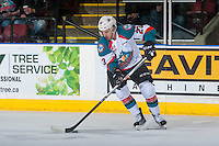 KELOWNA, CANADA - FEBRUARY 13: Reid Gardiner #23 of the Kelowna Rockets skates with the puck against the Seattle Thunderbirds on February 13, 2017 at Prospera Place in Kelowna, British Columbia, Canada.  (Photo by Marissa Baecker/Shoot the Breeze)  *** Local Caption ***