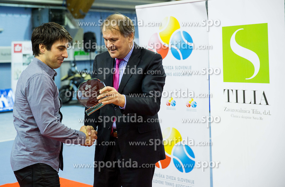 Ziga Janskovec and Marko Umberger, president of TZS at Tennis exhibition day and Slovenian Tennis personality of the year 2013 annual awards presented by Slovene Tennis Association TZS, on December 21, 2013 in BTC City, TC Millenium, Ljubljana, Slovenia.  Photo by Vid Ponikvar / Sportida
