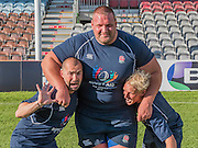 Louie Spence and Jamie Laing are held by Terry Hollands, British strongest man, as they try to tackel him. Training starts for inaugural RUGBY AID 2015 charity match which takes place on Friday 4th September 2015 at the Twickenham Stoop. The celebrity charity game will be in aid of RUGBY FOR HEROES  of which Mike Tindall MBE is Patron. The charity raises funds and awareness through the sport of rugby, the fan community and the wider professional player network, to support military personnel who are making the transition back from military service to civilian life. The teams (England v's Rest of the World) include former international rugby players, celebrities and serving members of the armed forces. Harlequins Rugby , The Stoop, Twickenham, London UK, 02 Sept 2015