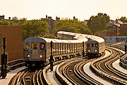 The Number 7 elevated subway near 61st Street in Queens, New York City.