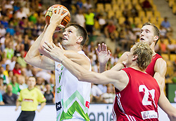 Gasper Vidmar of Slovenia during friendly match between National teams of Slovenia and Latvia for Eurobasket 2013 on August 2, 2013 in Arena Zlatorog, Celje, Slovenia. (Photo by Vid Ponikvar / Sportida.com)