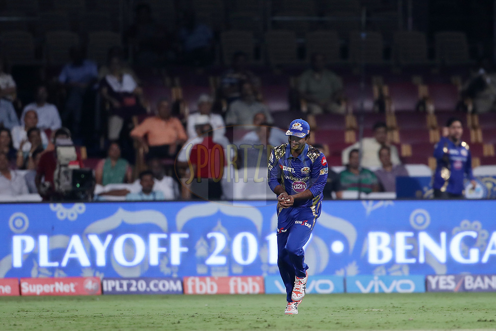Ambati Rayudu of the Mumbai Indians after taking the catch to dismiss Piyush Chawla of the Kolkata Knight Riders during the 2nd qualifier match of the Vivo 2017 Indian Premier League between the Mumbai Indians and the Kolkata Knight Riders held at the M.Chinnaswamy Stadium in Bangalore, India on the 19th May 2017<br /> <br /> Photo by Ron Gaunt - Sportzpics - IPL