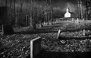 Black and white image of 1800s era church and cemetery, Great Smoky Mountains National Park