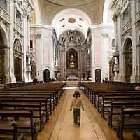 Interior of Graça church, Lisbon, Portugal