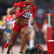 Sanya Richards-Ross, USA, anchors the Women's 4 x 400 relay team winning the Gold Medal at the Olympic Stadium, Olympic Park, during the London 2012 Olympic games. London, UK. 11th August 2012. Photo Tim Clayton