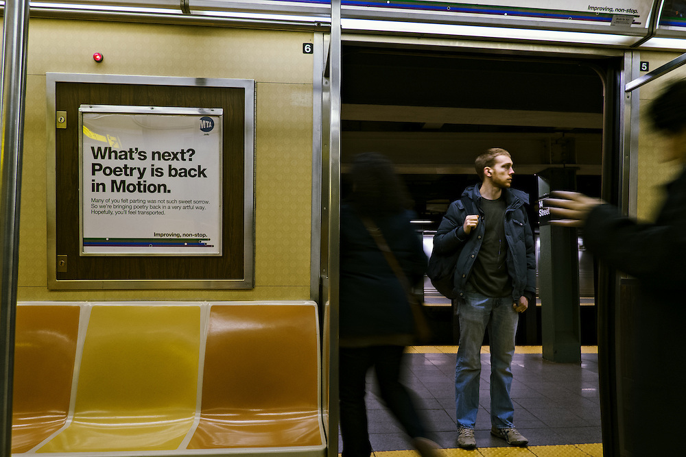 People exiting subway car, New York, NY, US